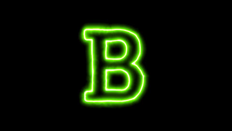 The appearance of the green neon symbol bold format. Flicker, In - Out. Alpha Animation