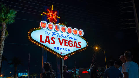 Panning Vegas Welcome Time-lapse Footage