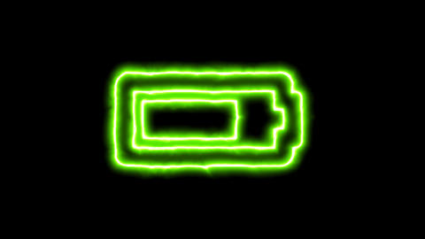 The appearance of the green neon symbol battery three quarters. Flicker, In - Animation