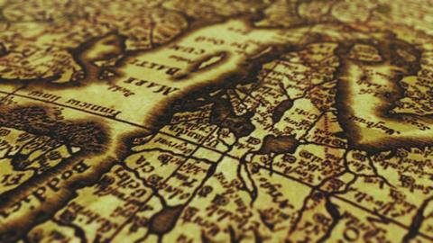 Old Vintage Paper Map Footage