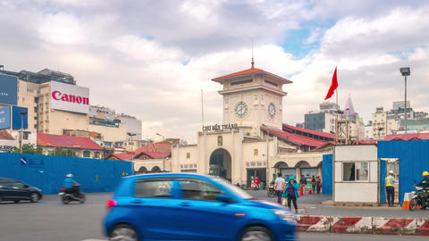 Ben Thanh Market Morning Time Lapse, Ho Chi Minh City, Vietnam Footage