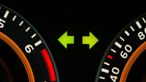 Car dashboard, with emergency stop signal GIF