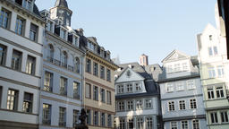 Upper Stories of Old Town Frankfurt Architecture at Friedrich Stoltze Plaza Footage