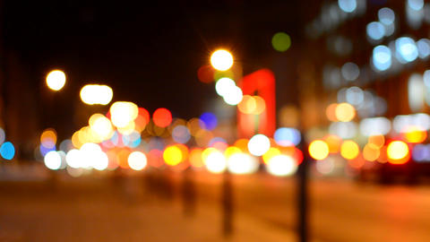 Blurred colorful lights on evening street Footage