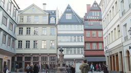 Friedrich Stoltze Monument in Old Town Frankfurt and Architecture Footage
