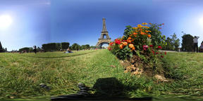 360 vr video of tourists by world famous Eiffel tower in Paris, France VR 360° Video