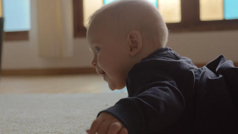 Baby girl wants to crawl and moving hands and legs Live Action