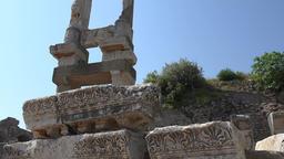 Turkey Ephesus Ephesos Efes Temple of Domitian columns against sky Footage