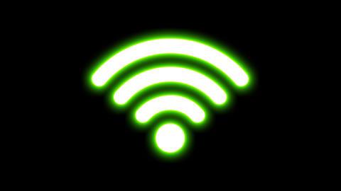 Wireless Internet Signal Icon Glowing Animation