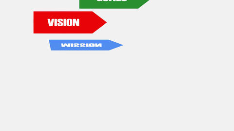 Vision, mision, strategy goals tactics, animated flags with lettering on white Animation