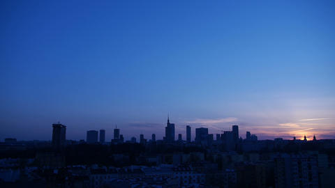 Panorama of the city of Warsaw at sunset Footage