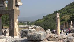 Turkey Ephesus Ephesos Efes columns at Curetes Street with landscape behind GIF