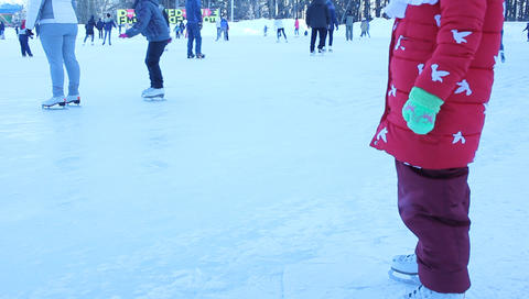 people skate on ice in winter Footage
