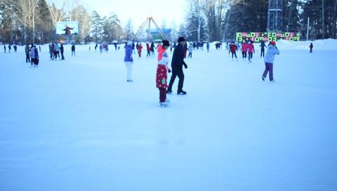 people skate on ice in winter Footage