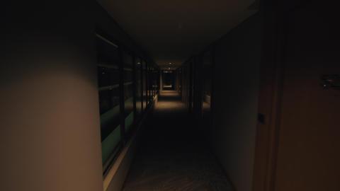 Man walking through hotel corridor and calling the elevator Footage