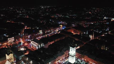 Lviv, Ukraine - 4, January 2019. Arial shot. Rynok square street. Christmas Fair GIF