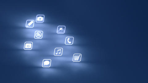 Glowing Mobile App Icons Blue (Two Short Clips) stock footage