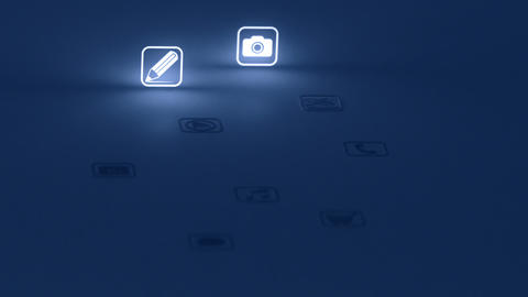 Glowing Mobile App Icons Blue (Two Short Clips) Stock Video Footage