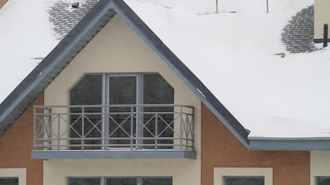 Fragment of an apartment house and snowfall Stock Video Footage