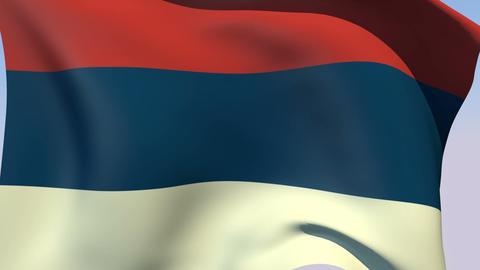 Flag of Serbia Civil Stock Video Footage