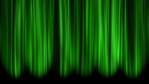 Green Curtains open, white background Stock Video Footage