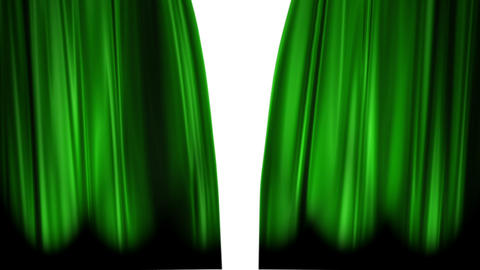 Green Curtains open, white background Animation