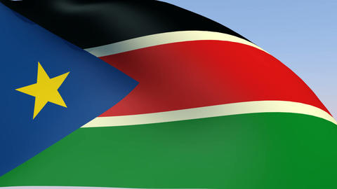 Flag of South Sudan Stock Video Footage
