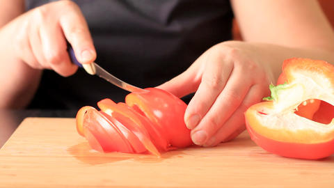 Cutting of pepper for salad Stock Video Footage