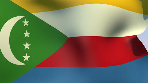 Flag of the Comoros Stock Video Footage