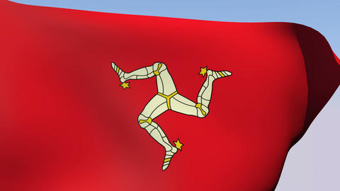 Flag of the Isle of Man Stock Video Footage