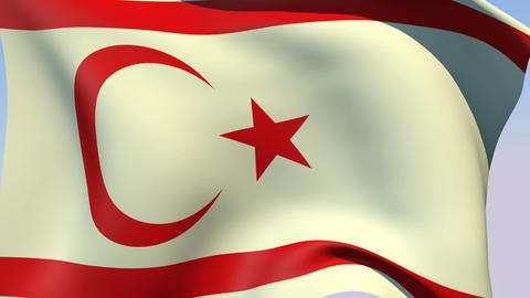 Flag of the Turkish Republic of Northern Cyprus Stock Video Footage