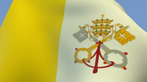 Flag of the Vatican City Stock Video Footage