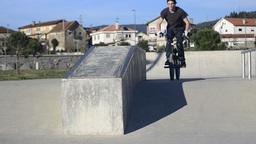 Bmx rider grinding Stock Video Footage