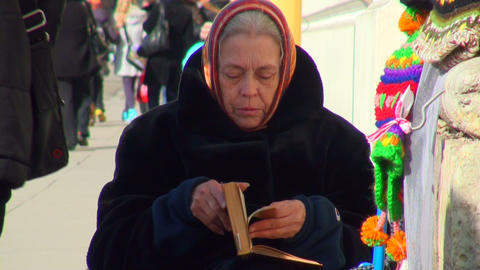 Grandmother reads the book Stock Video Footage