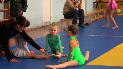 Rhythmic gymnastics training Stock Video Footage