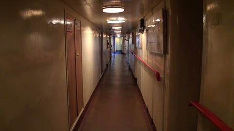 The passage of the seafarers by a corridor Stock Video Footage