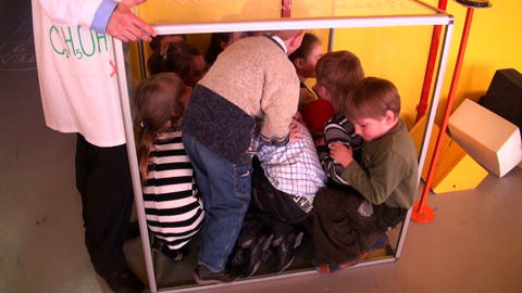 Children in cube Stock Video Footage