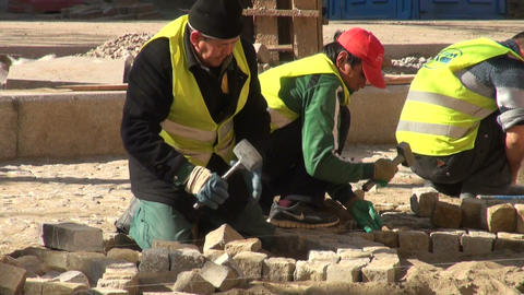 Workers are pavings street Footage