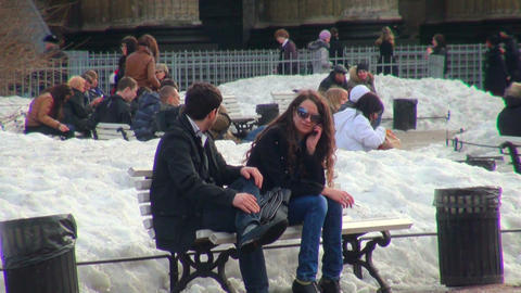 Love couple on a bench Stock Video Footage