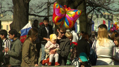 Father, mother, child in the city Stock Video Footage