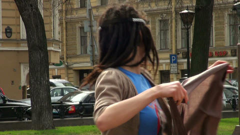 Girl dancing in the street Stock Video Footage