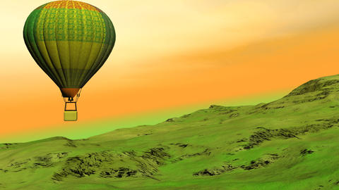 Hot air balloon flying upon the hill - 3D render Animation