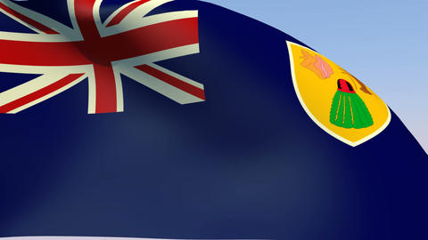 Flag of Turks and Caicos Islands Stock Video Footage