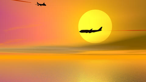 Aircrafts by sunset - 3D render Stock Video Footage