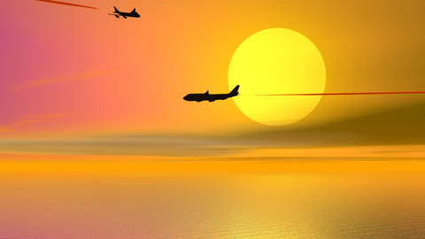 Aircrafts by sunset - 3D render Animation