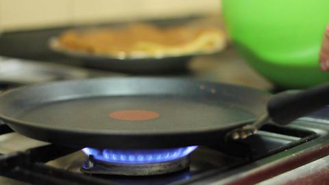 Preparation of pancakes on frying pan Footage