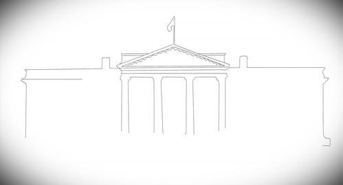 4 K White House 02 handdraw Stock Video Footage