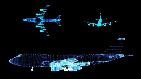Airplane Wireframes 1 Stock Video Footage