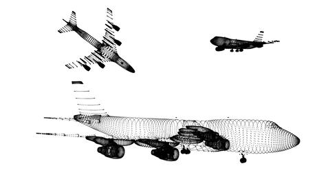 Airplane Wireframes 3 Stock Video Footage