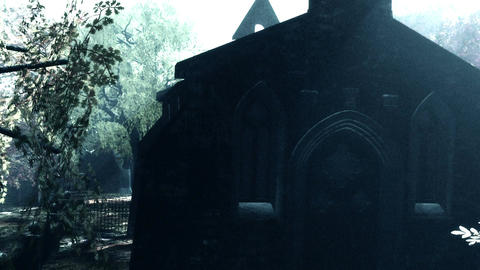 Cemetery Autumn 3D render Animation